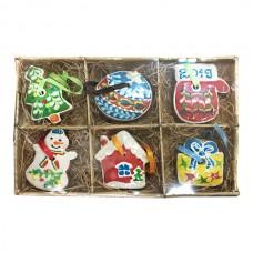Имбирное печенье «Игрушки на ёлку» (6 шт. в лукошке с бумажным наполнителем), 450г